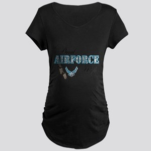 Proud Air Force Wife Maternity Dark T-Shirt